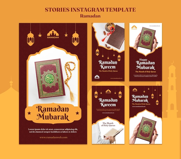 Рамадан карим шаблон историй в социальных сетях