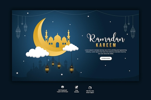 Рамадан карим традиционный исламский фестиваль религиозный веб-баннер