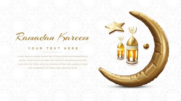 Ramadan kareem web banner 3d rendering