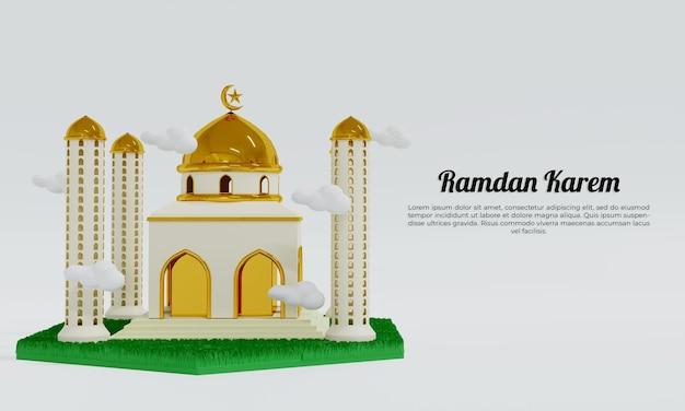 Рамадан карем с шаблоном мечети
