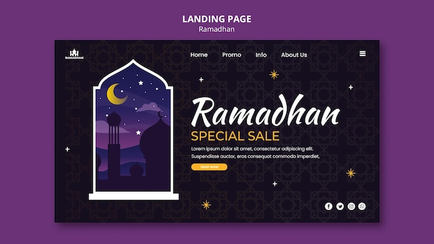 Ramadan landing page template illustrated