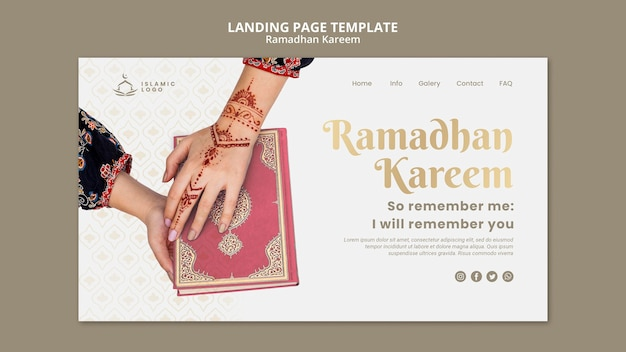 Ramadan landing page template with photo