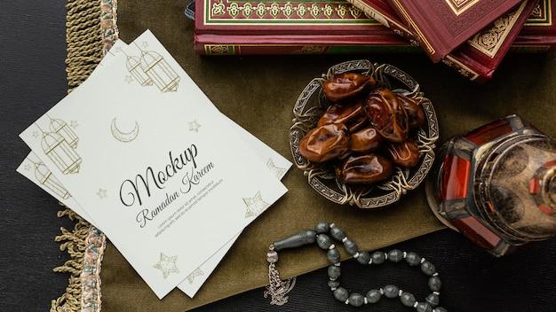 Рамадан принт макет и инжир плоский макет