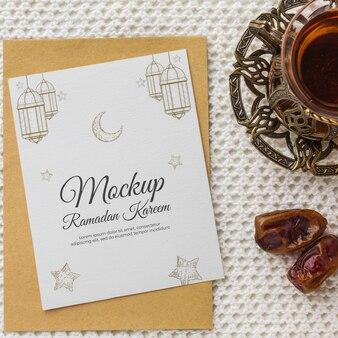 Рамадан принт макет и вид сверху инжира