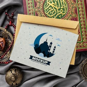 Mockup stampa ramadan vista dall'alto