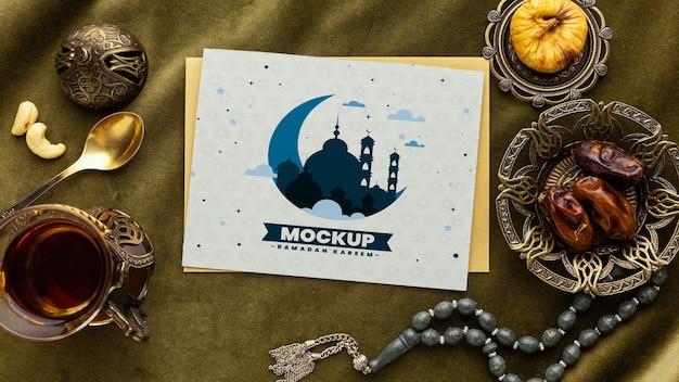 Mockup di stampa ramadan sopra la vista