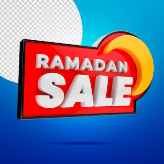 Ramadan sale 3d banner mockup isolated on blue