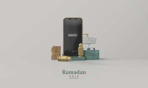 ラマダンセール3dレンダリングモックアップとゴールドのスマートフォンとゴールドのランプ