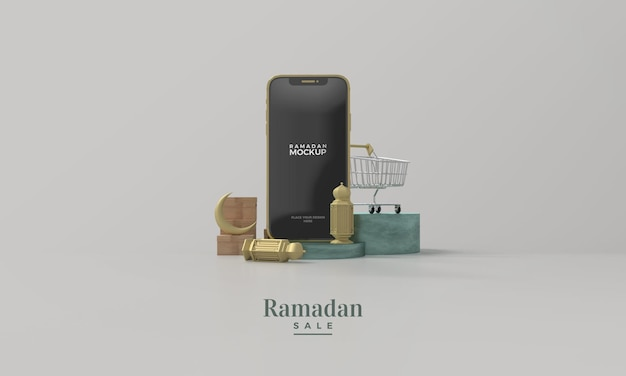 Ramadan sale 3d render mockup with gold smartphone and gold lamp