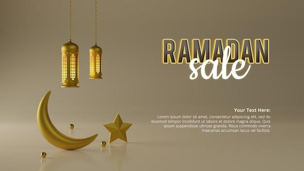 3d 렌더링의 라마단 판매 배경 광고 템플릿