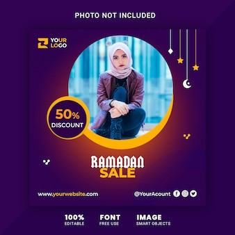 Ramadan sale promotion banner for instagram post template