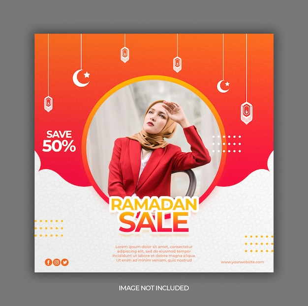 Ramadan sale promotion banner or square flyer for social media post template