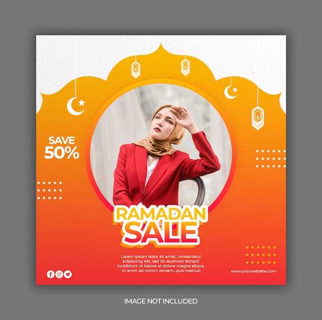 Ramadan sale social media post banner template or square flyer