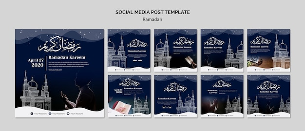 Modello di post social media ramadan
