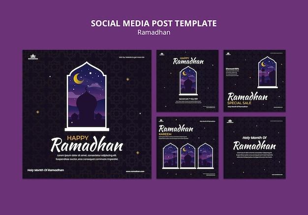 Modello di post sui social media del ramadan