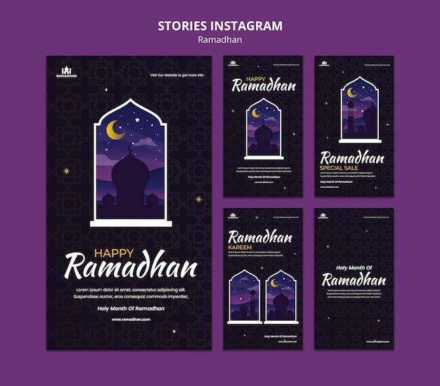 Ramadan social media stories template illustrated