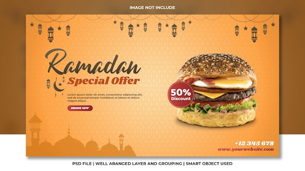 Рамадан специальное предложение скидка бургер фаст-фуд оранжевый шаблон