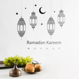 Ramadan still life with copyspace