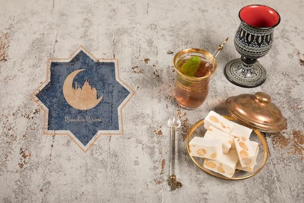 Ramadan still life with copyspace