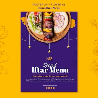 Disegno del manifesto del menu ramadhan