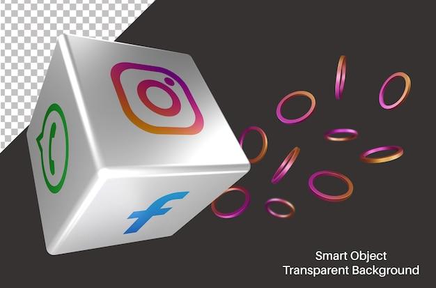 Случайный логотип instagram в социальных сетях в 3d-кубе