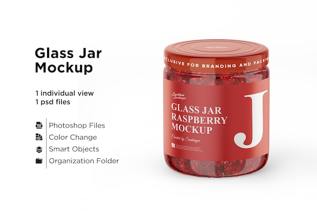 Raspberry jam jar mockup isolated