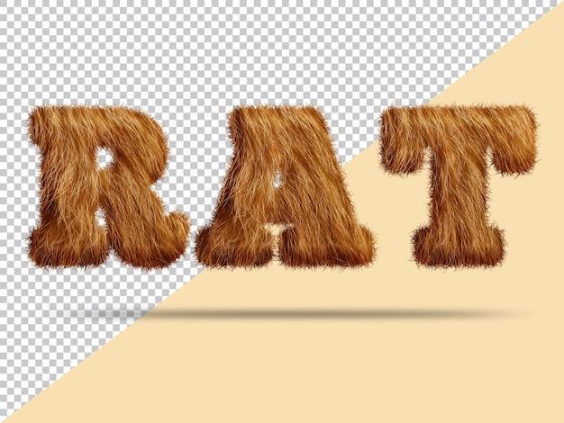 Rat text with realistic 3d fur