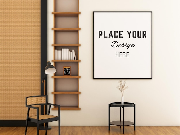 Rattan armchair with mockup frame on wall with scandinavia room