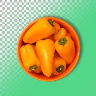 투명 한 배경에 고립 된 원시 유기농 달콤한 오렌지 고추 먹을 준비가.