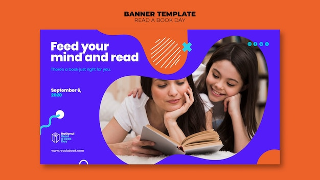 Read a book day banner template design