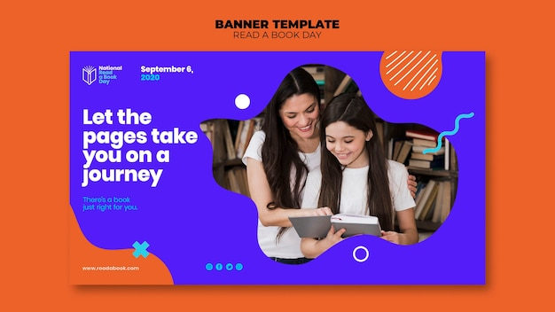 Read a book day banner template style