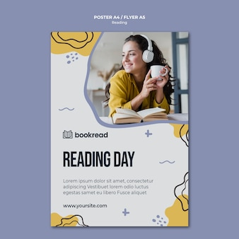 Reading concept flyer template