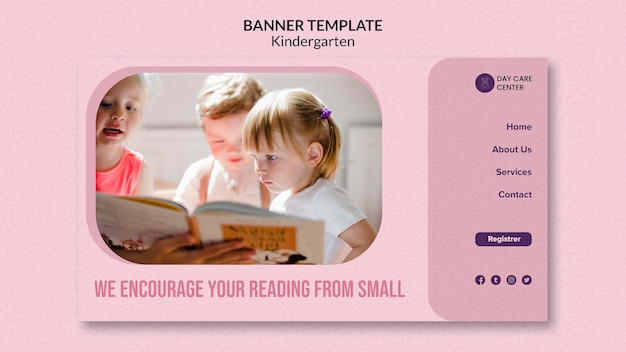 Reading from small kindergarten banner template