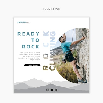 Ready to rock climbing square flyer template