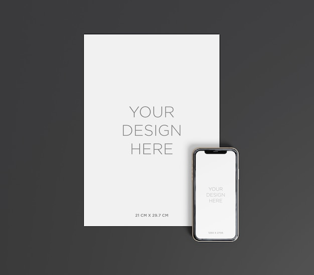 Ready to use a4 paper mockup with smartphone top view