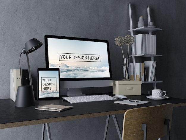 Ready to use desktop pc and tablet mockup design template with editable display in black modern indoor workspace