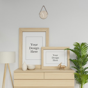 Ready to use double frame mock up template sitting on a drawer in interior scene