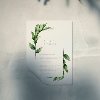 Ready to use poster mockup with a leaf