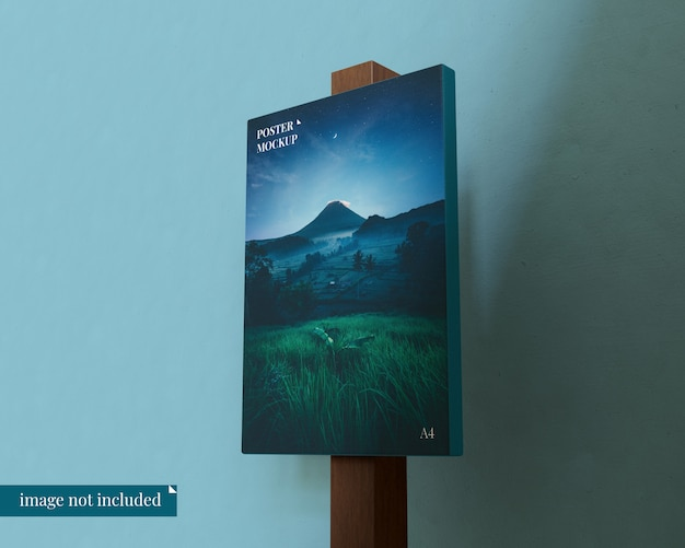 Ready to use poster mockup with wood block
