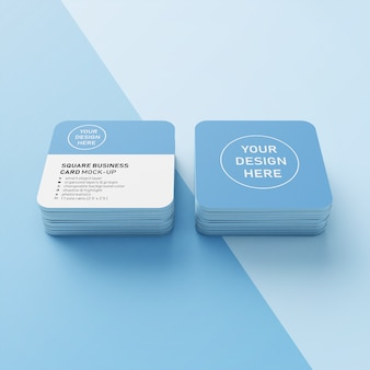 Ready to use premium square two stacked business card with rounded corners mock ups design templates in front perspective view