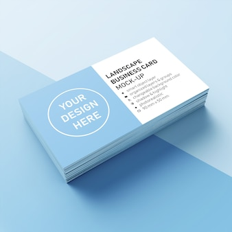 Ready to use realistic stack of 90x50 mm landscape business card with sharp corner mock-up design template in front perspective view