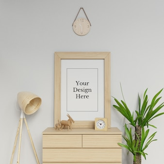 Ready to use single a1 poster frame mock up template sitting portrait in scandinavia space