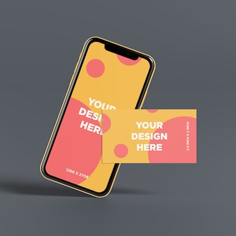 Ready to use smartphone mockup with business card front view