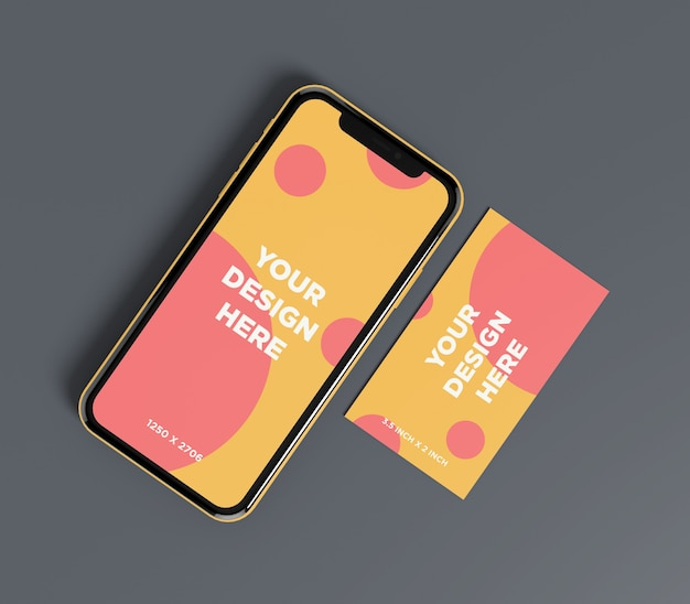Ready to use smartphone mockup with business card top view