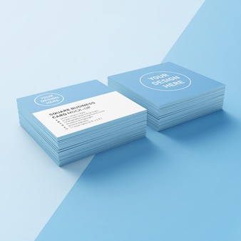 Ready to use square photorealistic mock up of double stack business card design template in upper perspective view