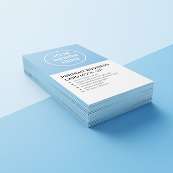 Ready to use stack of 90x50 mm vertical calling card with sharp corners mock ups design templates in lower perspective view