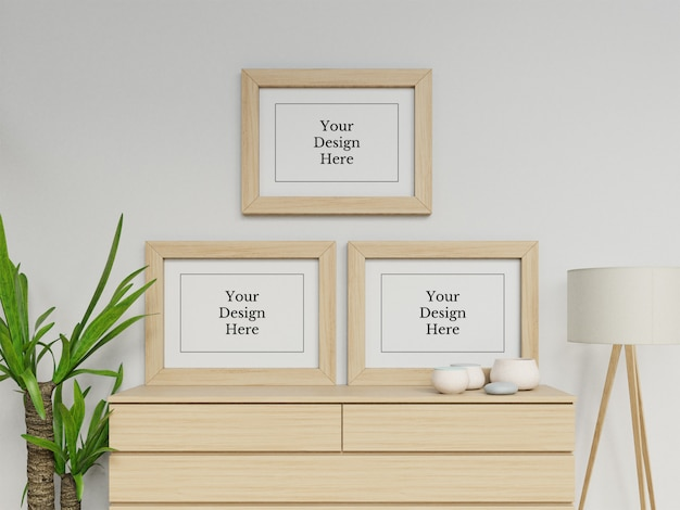 Ready to use three poster frame mock up design template in contemporary interior