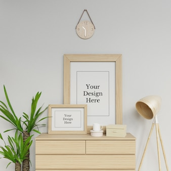 Ready to use two poster frame mock up design template sitting portrait in scandinavia scene