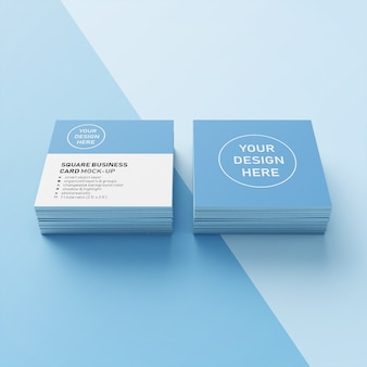 Ready to use two stack of square realistic business card mockup design template in front perspective view