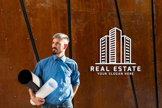 Real estate agent looking away with wooden background